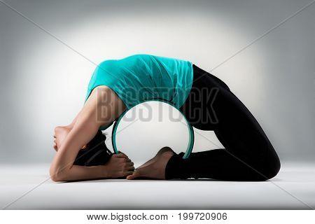 Professional Yoga Lady Back Around Pilates Ring