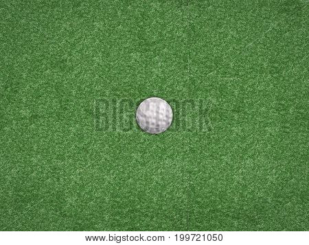 3d rendering golf ball on green background top view