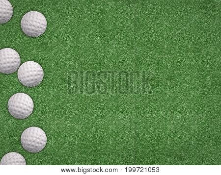 3d rendering top view golf balls on green background