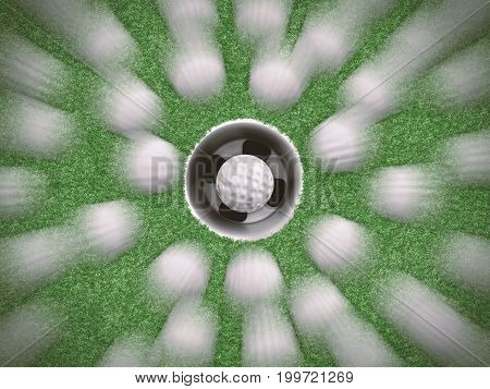 3d rendering golf training concept with many of golf balls in motion