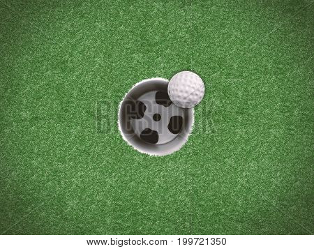 3d rendering golf ball on the edge of golf cup