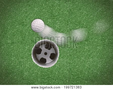 3d rendering golf ball in motion missing target on green grass