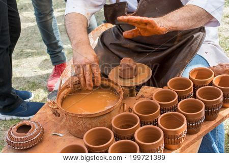 Potter`s Hands Shaping Up The Clay