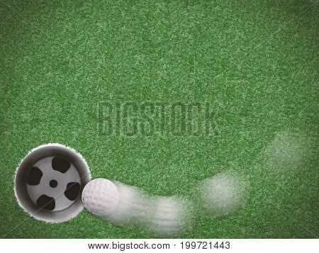 3d rendering motion curve line golf ball on green grass