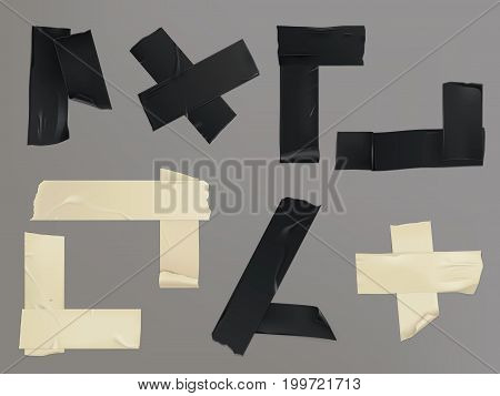 Vector illustration in a realistic style set of different slices of a beige and blackadhesive tape with shadow and wrinkles isolated on a gray. Print, template, design element