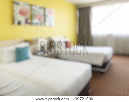 Blurred image of bedroom interior. Bedroom interior. Bedroom background.