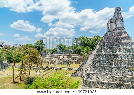 view over Maya pyramids and temples in national park Tikal in Guatemala