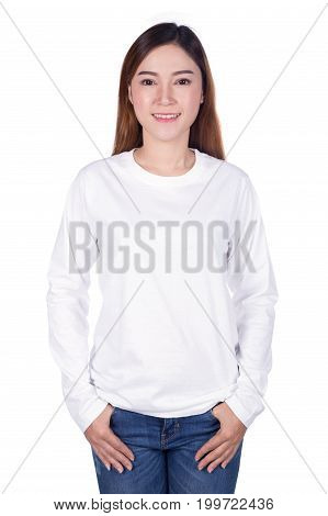 happy woman in white long sleeve t-shirt isolated on a white background