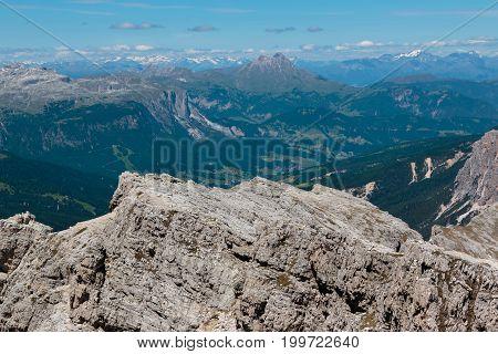 Mountain Ridge Among Barren Mountains In Italian Dolomites Alps In Summer Time