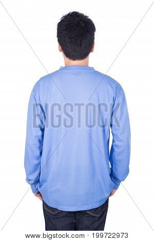 Man In Blue Long Sleeve T-shirt Isolated On White Background (back Side)