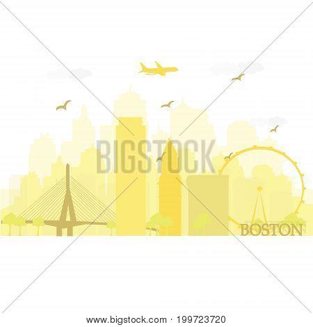 Boston city skyline with famous landmarks. Flat style vector illustration.