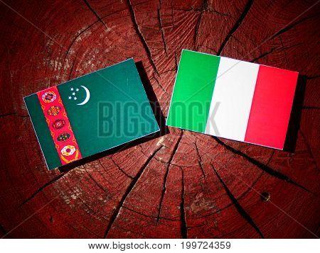 Turkmenistan Flag With Italian Flag On A Tree Stump Isolated