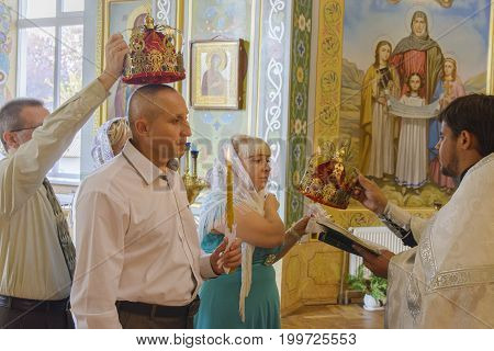 Church wedding of a married couple on October 2 2016 in the Orthodox Church of Zhytomyr