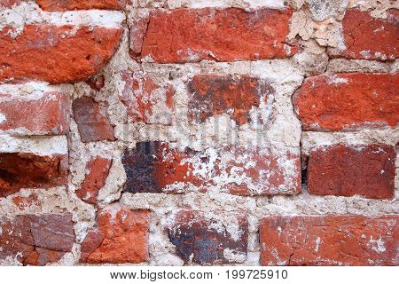 Old brick wall. The crumbling wall of bricks. Wall texture background. The plaster on the wall. Uneven wall surface. The paint on the wall. Plastered walls. Abstract background. Painted brick wall
