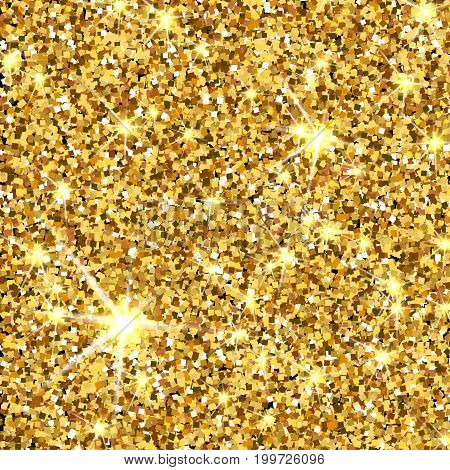 Gold glitter vector texture. Golden sparcle background. Luxory backdrop. Amber particles.
