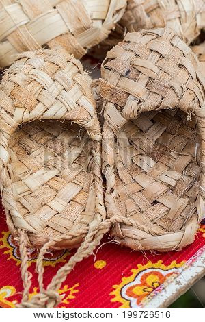 The wicker shoes of the rural population of Russia, called bast shoes