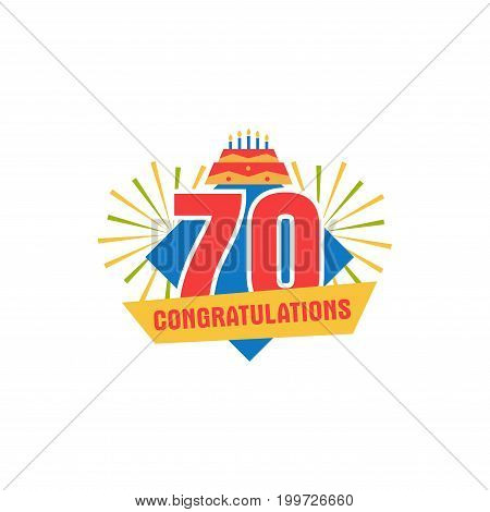 Anniversary seventy years number. 70th years festive Logo and greeting for invitation decor. Flat style vector illustration isolated on white background. Birthday badge with ribbon