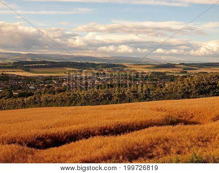 Landscape in Scotland. Forfar, Scotland - July 31, 2017 Picturesque landscape over the city of Forfar in Scotland.