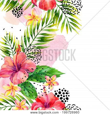 Watercolor tropical leaves and flowers arrangement background. Water color exotic floral elements ink doodle brush stroke minimal shapes card. Hand painted colorful natural illustration