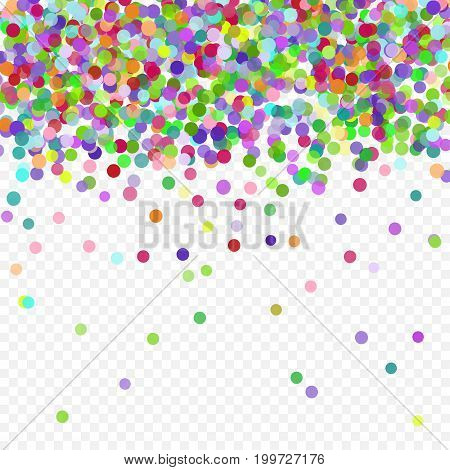 Multicolored paper confetti on transparent background. Realistic holiday decorations flying. Background for holiday cards, greetings. Colorful flying falling the elements of decoration of the celebration.