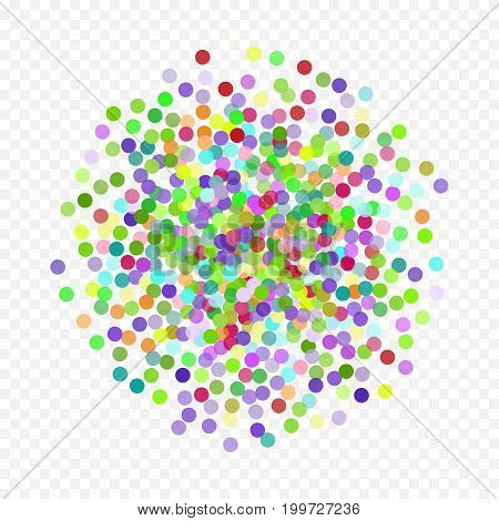 Multicolored paper confetti on transparent background. Golden colorful circle made of dots. Colorful flying falling the elements of decoration of the celebration.