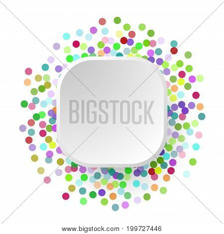 Multicolored paper confetti on white background. Realistic holiday decorations flying. Banner with space for text. Colorful flying falling the elements of decoration of the celebration.