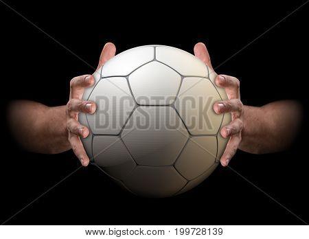 Hands Gripping Soccer Ball