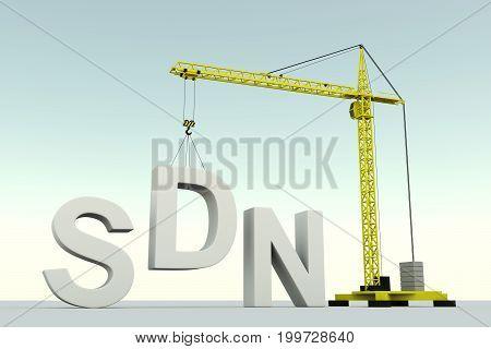 SDN concept building crane white background 3d illustration