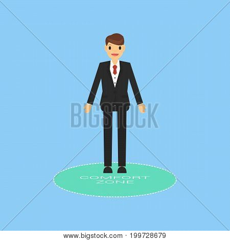 businessman in Comfort zone, business concept, vector.
