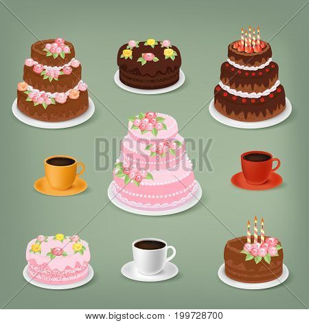 Vector sweet cakes and cups of coffee collection: chocolate cakes with cream roses, birthday cakes with burning candles