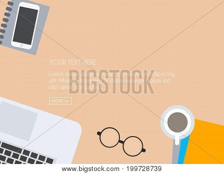 Work Desk For Office With Stationery Elements On The Table. Top View With Textured Table, Laptop, Sm
