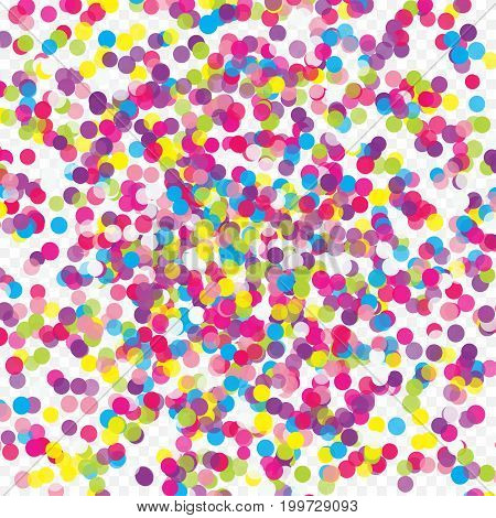 Multicolored paper confetti on transparent background. Realistic holiday decorations flying. Background for holiday cards, greetings. Colorful scattered elements decoration of the celebration.