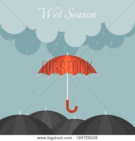 red umbrella in rainy day with black umbrella and cloudy sky, flat design vector