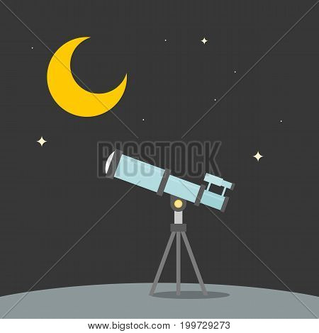 observation star with telescope with background of moon, star and ground