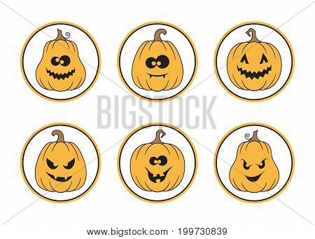Set of round Halloween tags and labels with spooky pumpkins