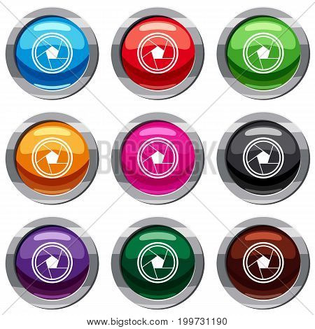 Photo objective set icon isolated on white. 9 icon collection vector illustration