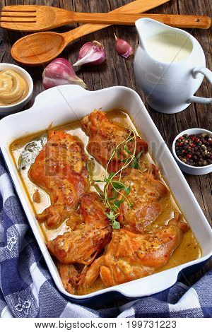 Appetizing Rabbit Cooked In Mustard Sauce