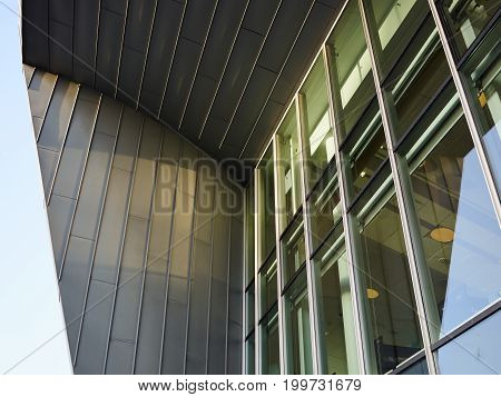 Modern trendy design office building window glass and metal structure abstract