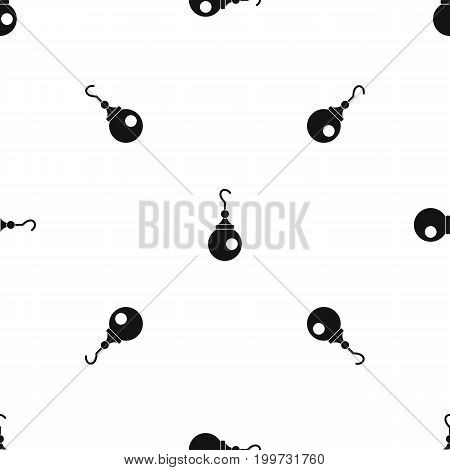 Earring pattern repeat seamless in black color for any design. Vector geometric illustration