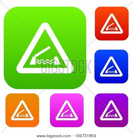 Lifting bridge warning sign set icon in different colors isolated vector illustration. Premium collection