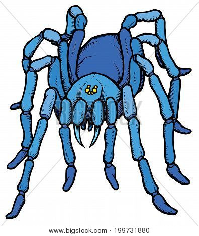 Cartoon stylized blue tarantula spider - vector illustration
