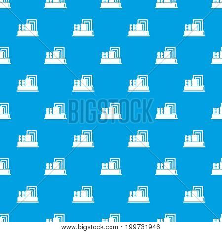 Equipment for production oil pattern repeat seamless in blue color for any design. Vector geometric illustration