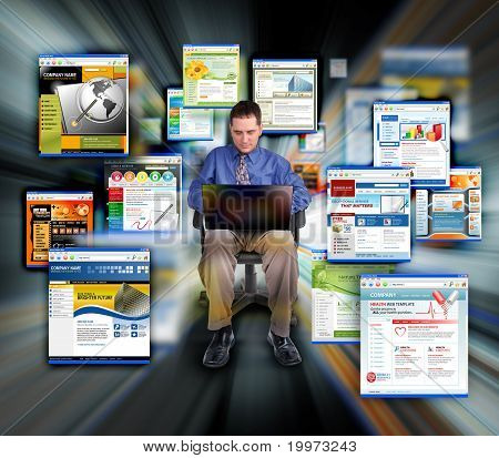 Business Man Surfing Internet Web Sites