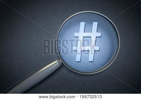 3d rendering of a magnifying glass hashtag sign