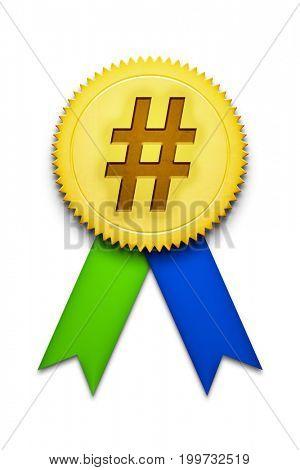 2d illustration of a hashtag ribbon badge