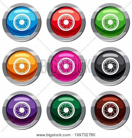 Photographic objective set icon isolated on white. 9 icon collection vector illustration