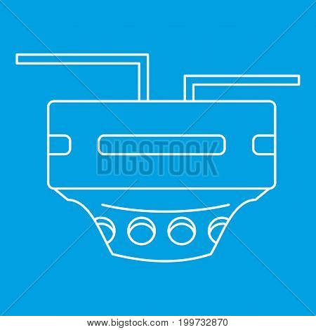 Monitor socket icon blue outline style isolated vector illustration. Thin line sign