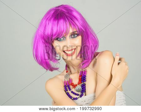 Woman Smiling With Violet Hair Wig And Fashionable Makeup