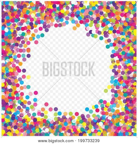 Multicolored paper confetti on transparent background. Realistic confetti flying. Colorful scattered items to holiday decorations. Background for holiday cards, greetings.