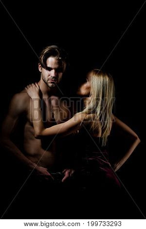 Couple In Love Of Sexy Women And Muscular Man